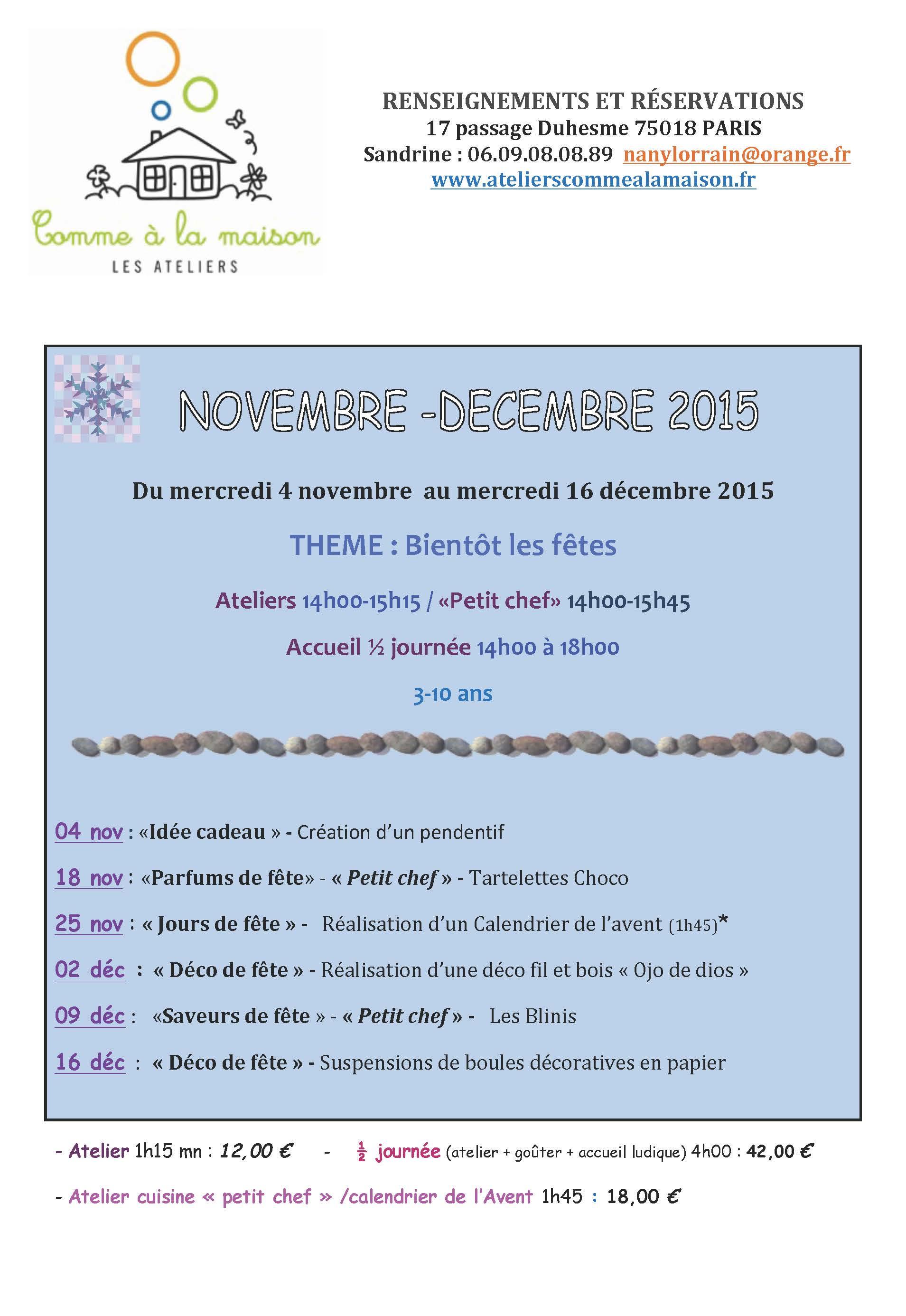 PROGRAMME NOVEMBRE-DECEMBRE  2015