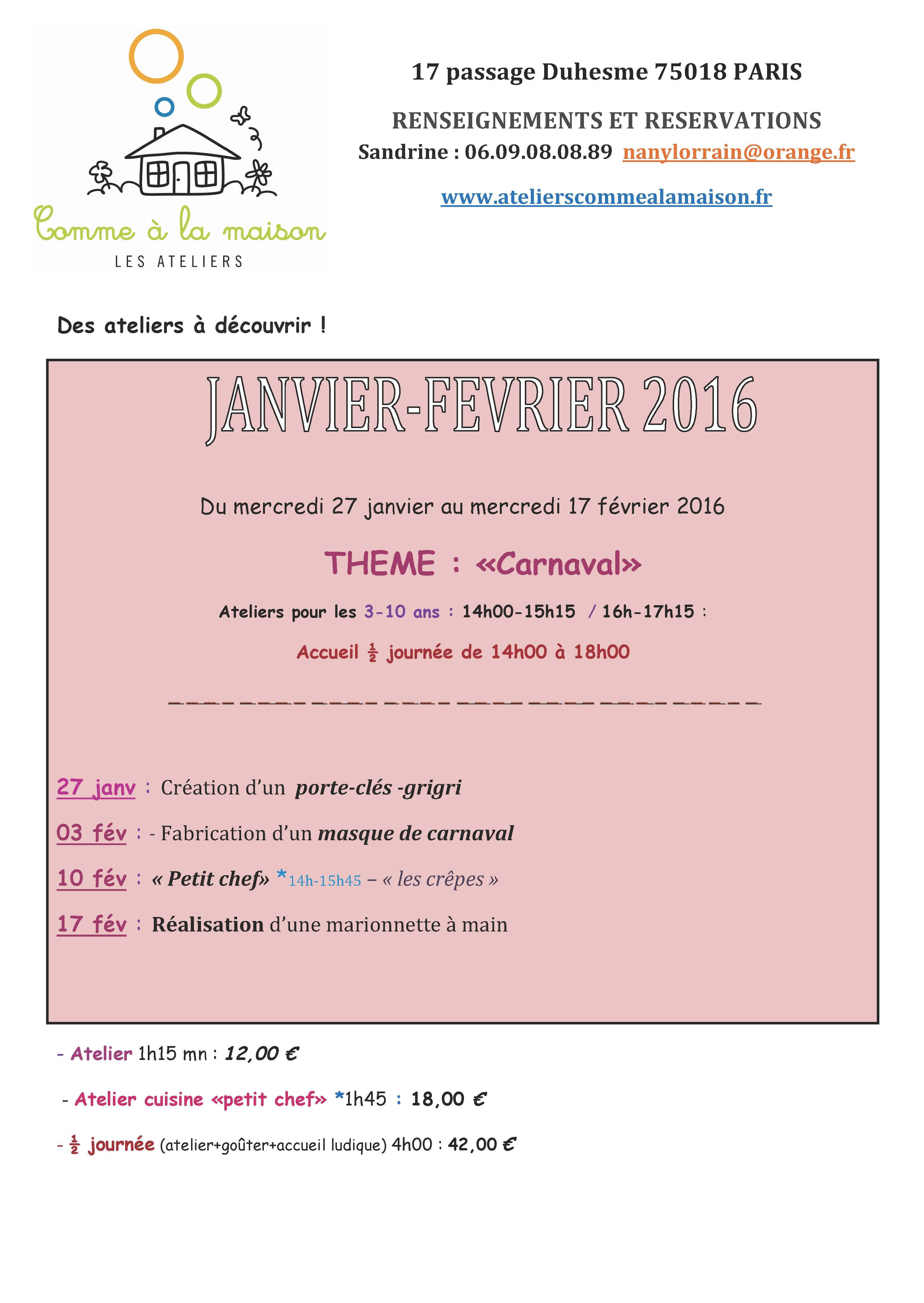Ateliers janv-février 2016