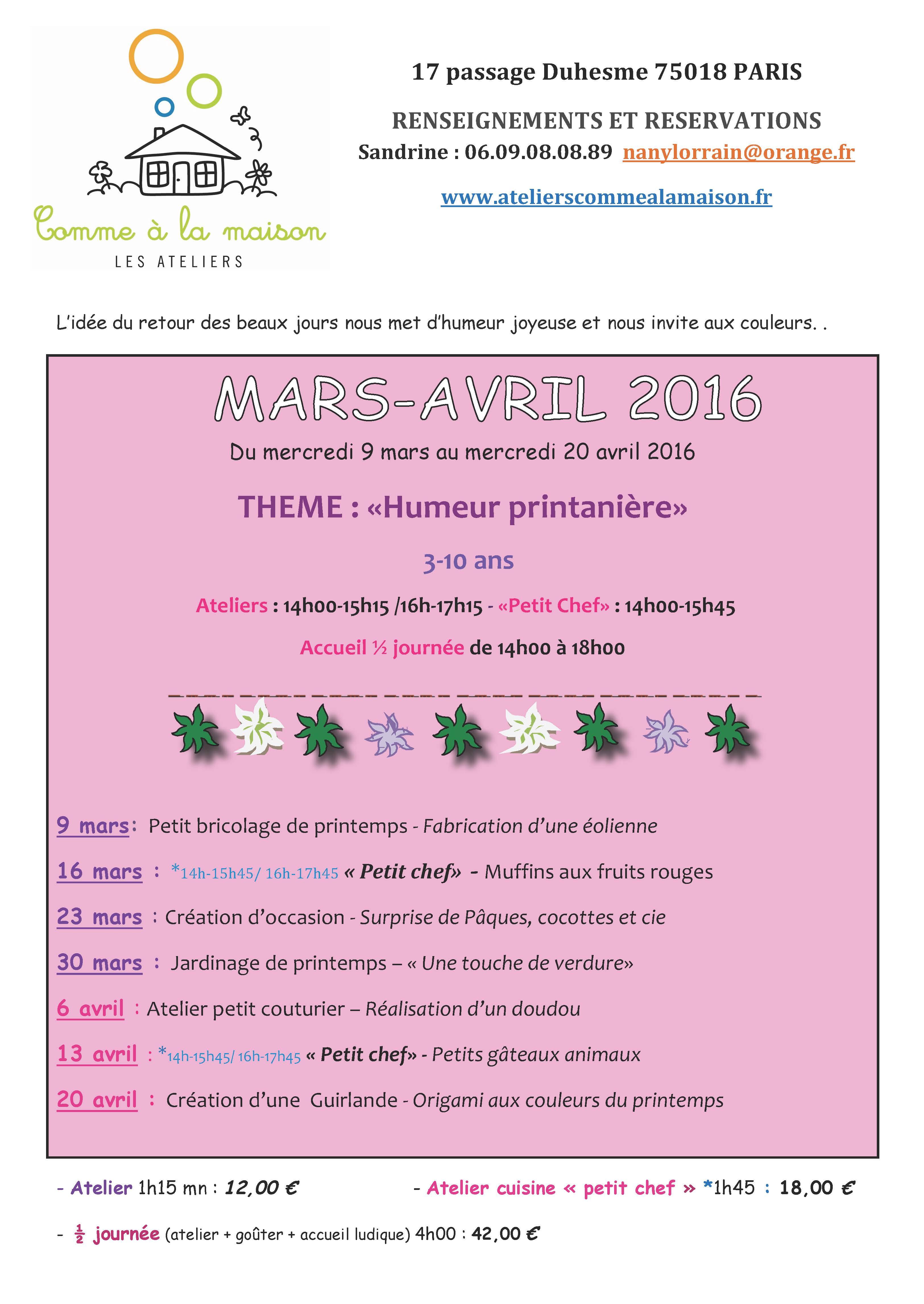 programme mars-avril 2016